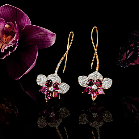 AMARANTHINEORCHIDS  One of a kind earrings and men's pocket or tie pin. Shop Now