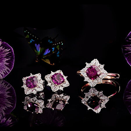 AMARANTHINETEMPLE FLOWERS  One of a kind ring and earring set Shop Now